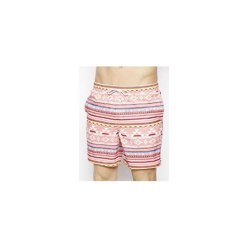 ASOS Swim Shorts In Mid Length With Aztec Print