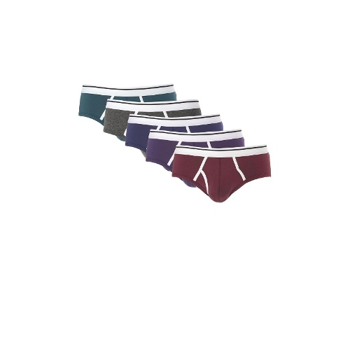 5 Pack Briefs With Contrast Trim
