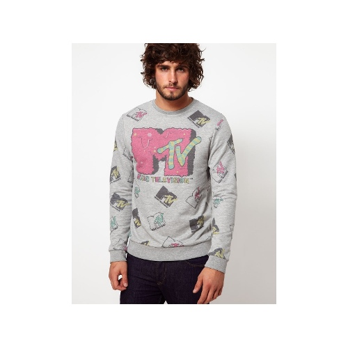 Sweatshirt With All Over MTV Print