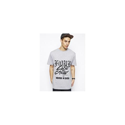 Cheap Monday T-Shirt with Life Crew Print - Grey melange