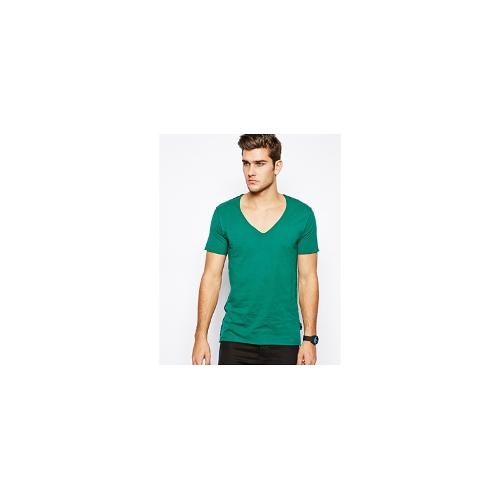 Izzue V-Neck T-Shirt With Raw Edge - Green