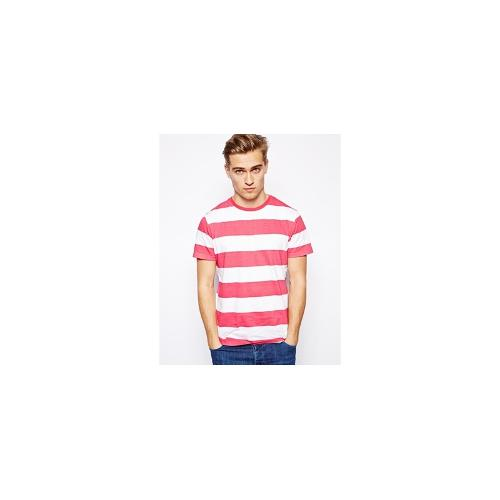 Brave Soul Striped T-Shirt - Red