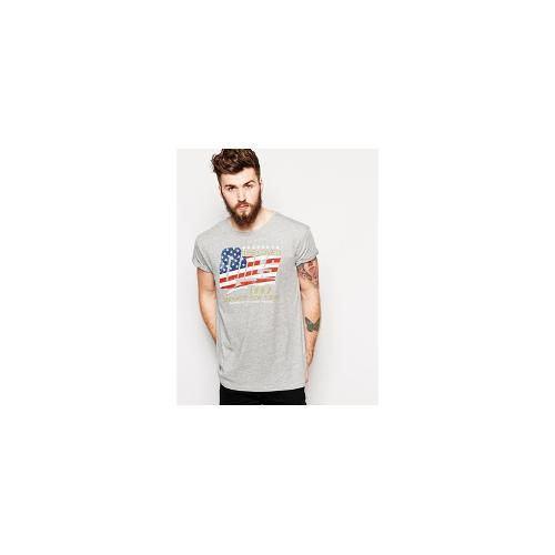 ASOS T-Shirt With Typographic Flag Print And Rolled Sleeve Skater Fit