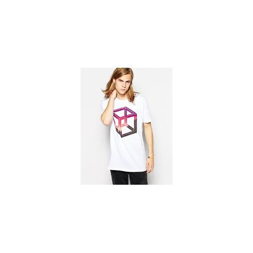 ASOS Longline T-Shirt With Impossible Shape Print And Skater Fit - White