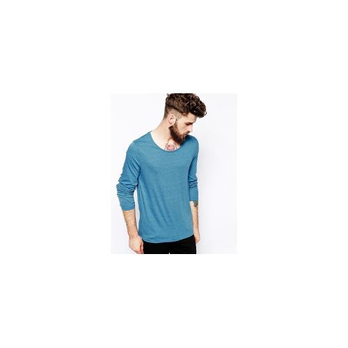 ASOS Long Sleeve T-Shirt With Scoop Neck - Blue
