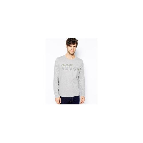ASOS Long Sleeve T-Shirt With Tequila Print - Grey marl