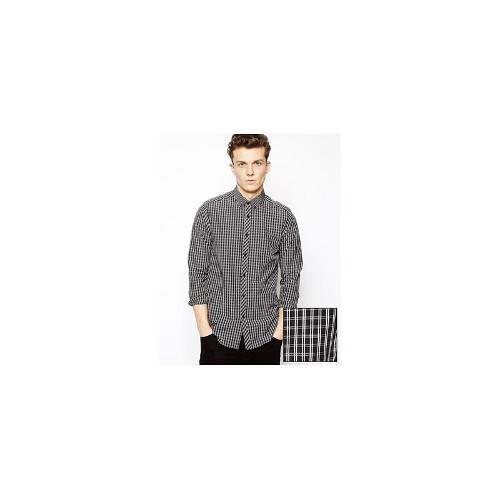 ASOS Smart Shirt In Long Sleeve With Check And Contrast Collar