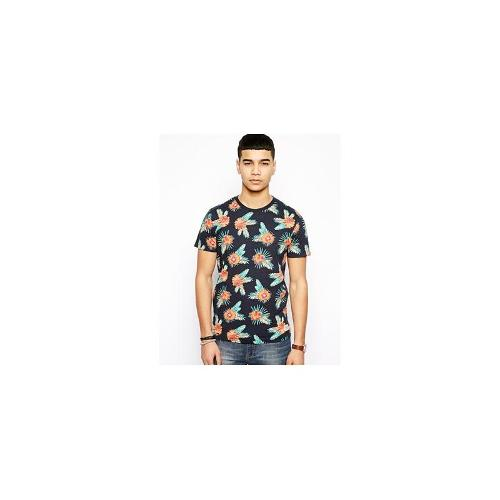 Jack & Jones T-Shirt With Floral Print - Black navy
