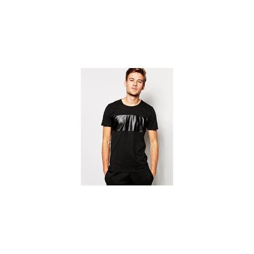 Selected T-Shirt With Leather Panel - Black