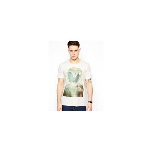 Selected T-Shirt With Silhouette Print - Marshmallow