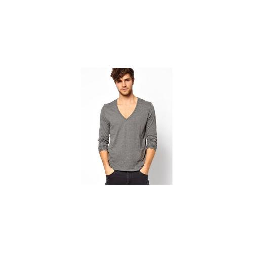 ASOS Long Sleeve T-Shirt With Deep V Neck - Charcoal marl