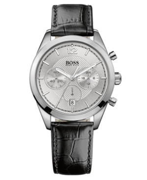 Hugo Boss Watch, Men's Chronograph Black Leather Strap 40mm 1512745