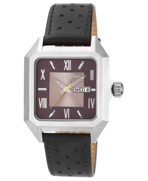 Vince Camuto Watch, Men's Black Leather Strap 39mm VC-1016BYSV