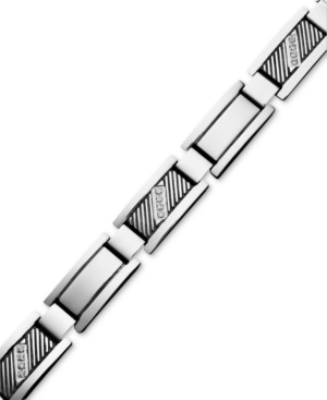 Men's Diamond Bracelet, Stainless Steel Diamond Rectangle Link (1/10 ct. t.w.)