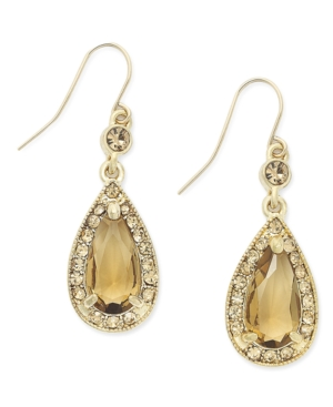Charter Club Earrings, Gold-Tone Topaz Glass Teardrop Earrings