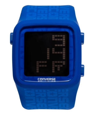 Converse Watch, Unisex Digital Scoreboard Printed Logo Blue Silicone Strap 43mm VR002-450
