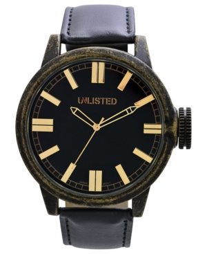 Unlisted Watch, Men's Black Polyurethane Strap 50mm UL1233
