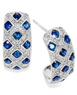 Sterling Silver Earrings, Sapphire (2 ct. t.w.) and Diamond (1/5 ct. t.w.) Woven Earrings