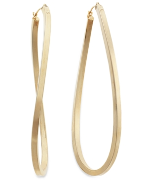 14k Gold over Sterling Silver Earrings, Figure 8 Hoop Earrings