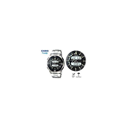 CASIO Mens Digital LCD / Analog Dual Time 100m Water Watch AQ-164WD-1A