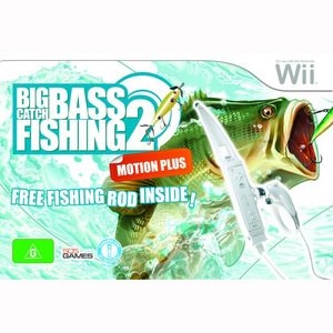 Nintendo Wii Big Catch Bass Fishing 2 + Fishing Rod Wii Remote Attachment