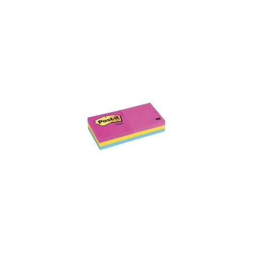 3M Post-it Notes 76x76mm Lined Pad Neon 6 Pack