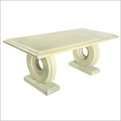Stone Designs - Rectangular Table in Stone on Twin Circular Bases Size: 240cm W - Outdoor Tables