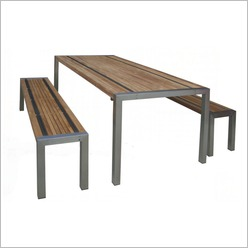 Bay Street - Teak Stripe III Dining Table Size: 200cm - Outdoor Tables