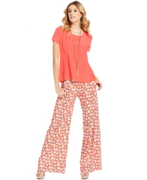 MM Couture Pants, Wide-Leg Printed