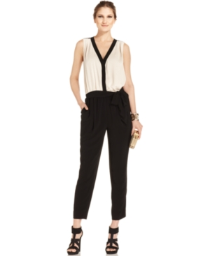 DKNYC Jumpsuit, Sleeveless Colorblock Belted