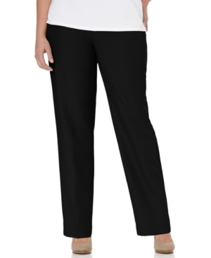 Alfred Dunner Plus Size Pants, Pull On Straight Leg, Black