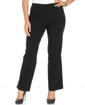 AGB Plus Size Pants, Pull-On Straight-Leg