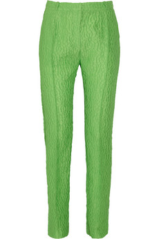 Audile high-rise textured-crepe pants