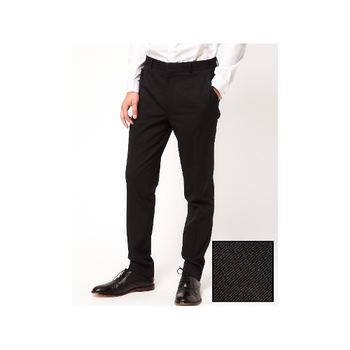 Skinny Fit Tuxedo Suit Pants In Black Polywool
