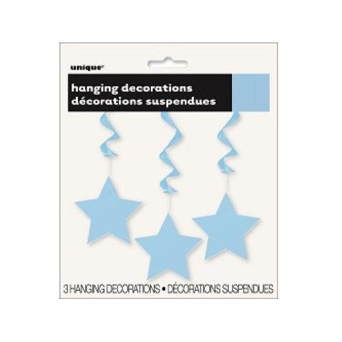 Ceiling Decoration - Shooting Stars 3 pk Baby Blue