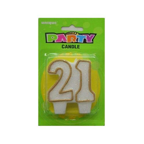 """21"" Candle, Numeral Gold"