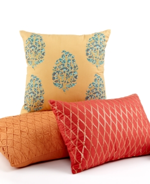 "CLOSEOUT! Charter Club Bedding, Rajasthan Embroidered 16"" Square Decorative Pillow Bedding"