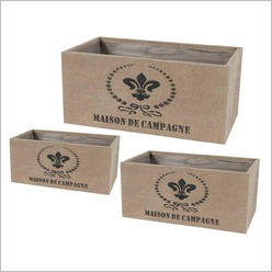 Phil Bee Interiors - Set of 3 Maison de Campagne Tin Planters (Jute Cover) - Planters
