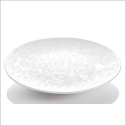 Stoneleigh & Roberson - 41.5cmd Embossed Platter in White (Set of 2) - Serving Pieces