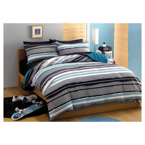 House x Home Queen Quilt Cover Set - Shale Stripe