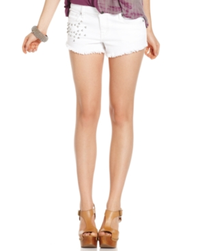 Jessica Simpson Juniors Shorts, Myra Studded Frayed Cutoff