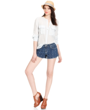 Sanctuary Shorts, Dark-Wash Embroidered Denim