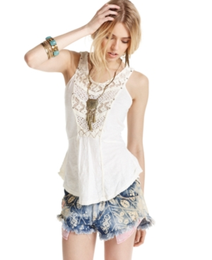 Free People Shorts, Printed Denim Frayed Dolphin