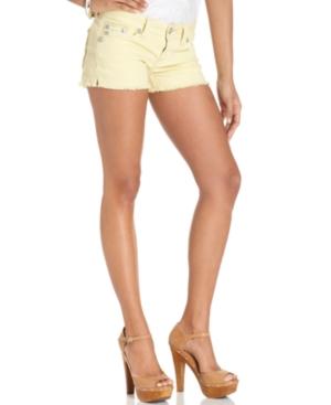 Miss Me Jeans, Frayed Colored Denim Shorts, Yellow Wash