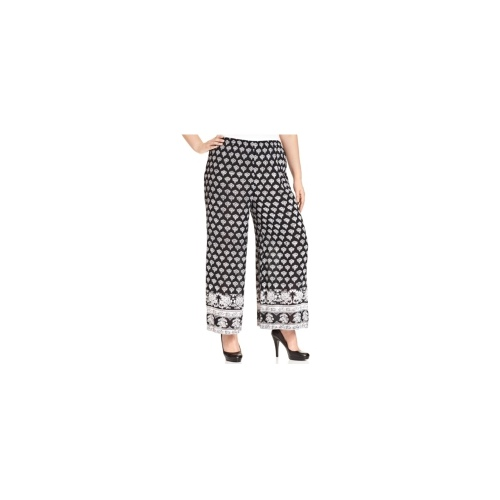 Angie Plus Size Pants, Printed Pull-On Wide-Leg