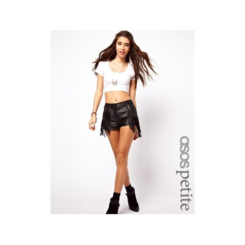Exclusive Leather Shorts With Fringing And Studs