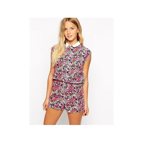 Floral Ditsy Playsuit With Peter Pan Collar