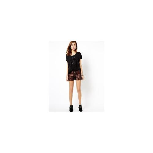 One Teaspoon Mariachi Morrison Shorts in Leather - Bronze/brown