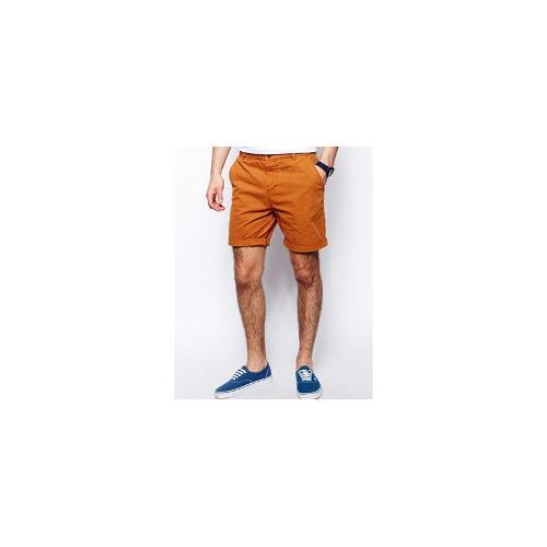 ASOS Chino Shorts In Mid Length - Rust