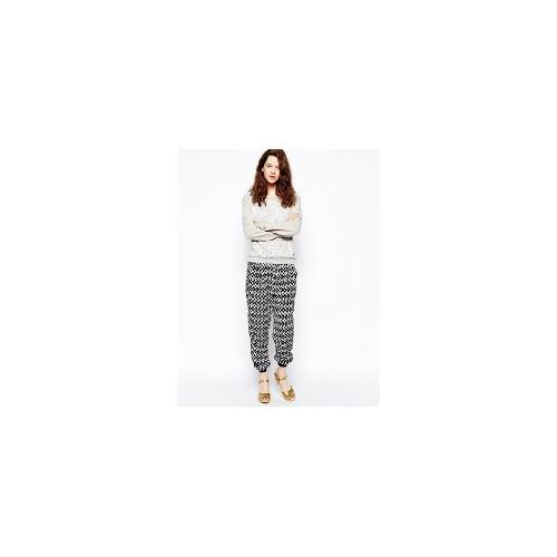 Greylin Casual Trousers in Print - Black/ white